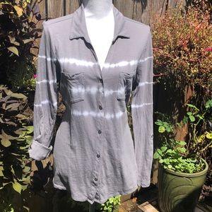 Sonoma Gray Tie Dye Button Down Top Size L     A27